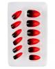 Stileto Fingernägel Schwarz / Rot 12 St.