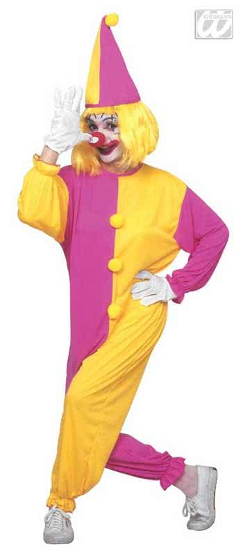 clown overall kost m rosa gelb lustige karnevalskost me und accessiores horror. Black Bedroom Furniture Sets. Home Design Ideas