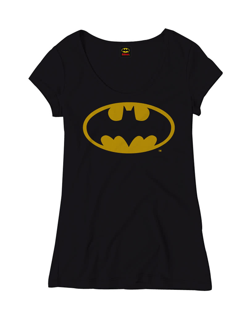 batman classic logo frauen t shirt superhelden lizenzartikel f r damen horror. Black Bedroom Furniture Sets. Home Design Ideas