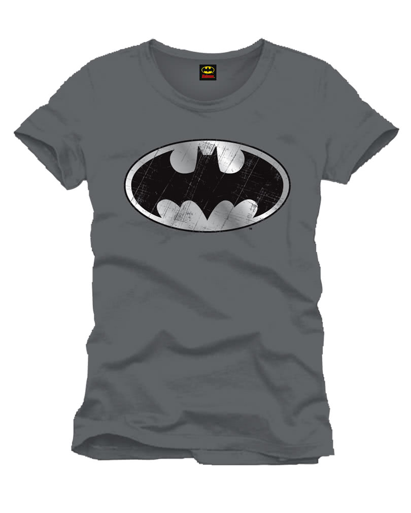 batman t shirt silber logo superhelden merchandise kaufen horror. Black Bedroom Furniture Sets. Home Design Ideas