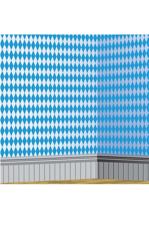 bayerische rautenmuster wandfolie wei blau horror