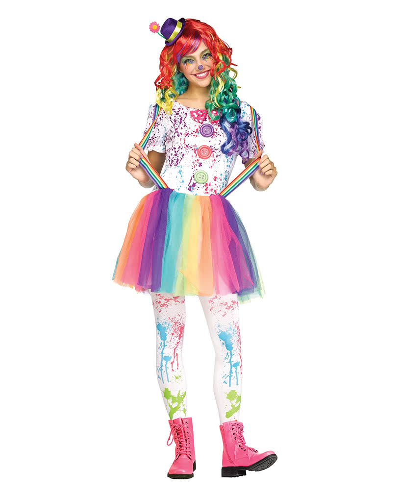 Crazy Halloween Decorations: Rainbow Clown Costume Teenagers