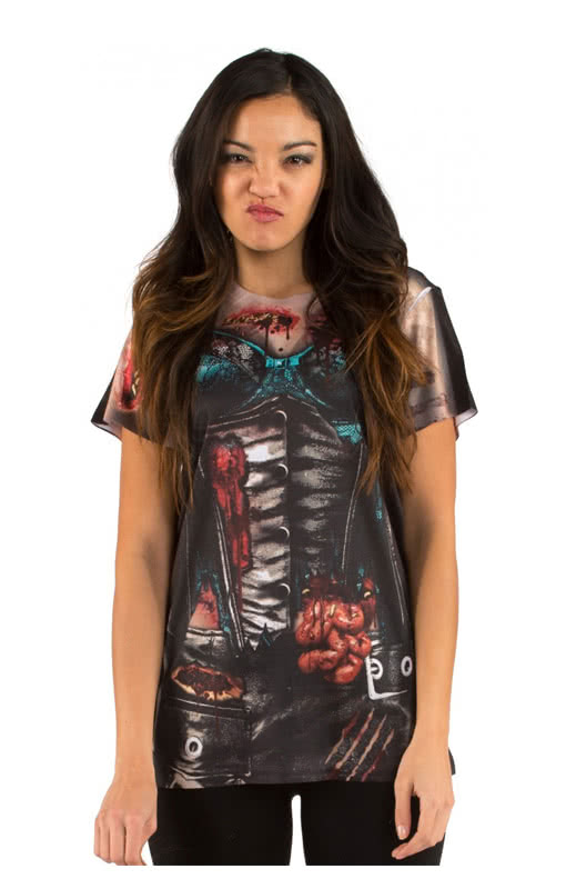 corset zombie women 39 s t shirt i ladies 39 fun shirt with sexy zombie motif horror. Black Bedroom Furniture Sets. Home Design Ideas