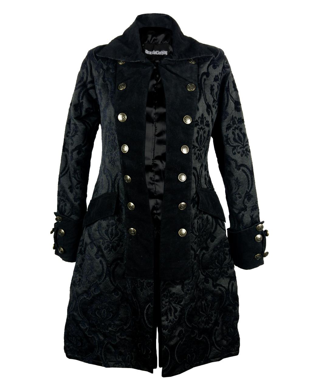 Damen Piratenmantel schwarzer Brokat