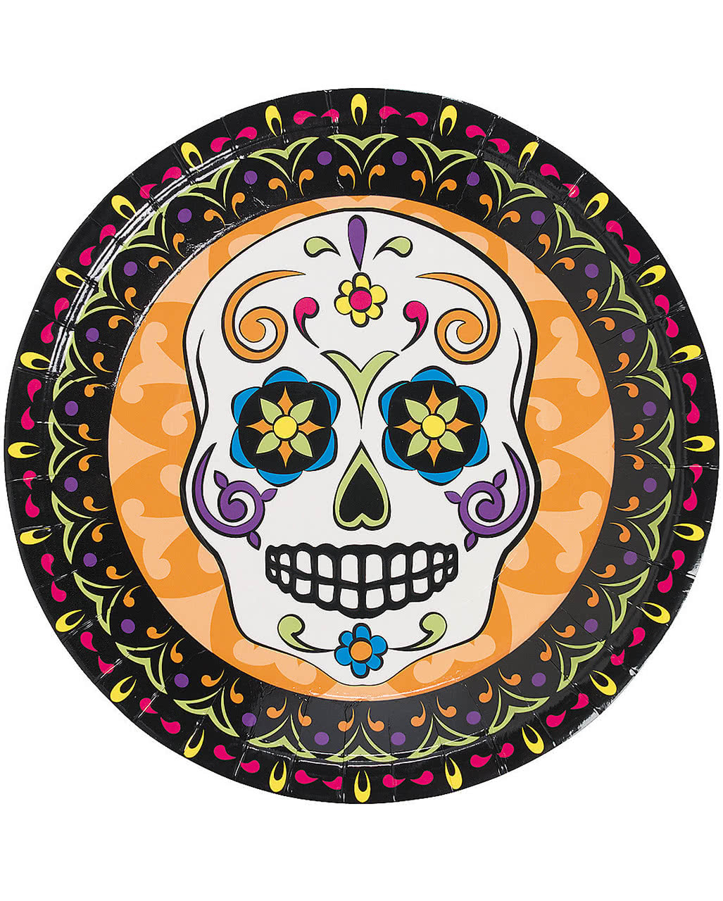 day of the dead paper plate 8 st sugar skull dish horror. Black Bedroom Furniture Sets. Home Design Ideas