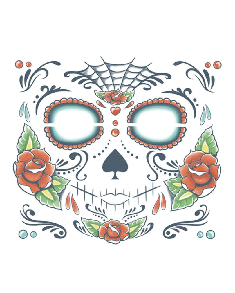 Skull Drama Face Tattoo: Day Of The Dead Skull Face Tattoo Sugar Skull Tattoo