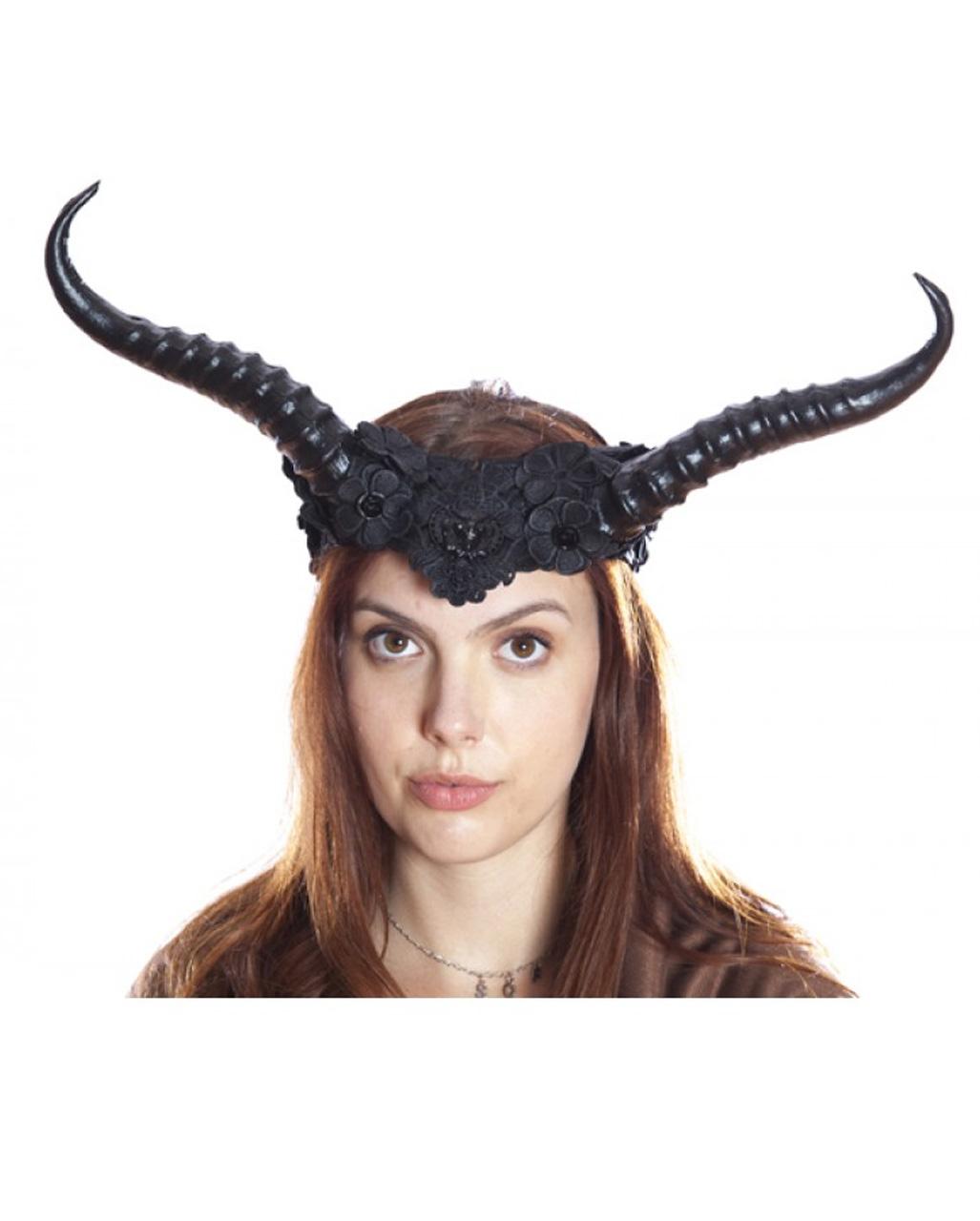 Demonic Queen Black and Lace Horn Headband Halloween Horror Ladies Fancy Dress