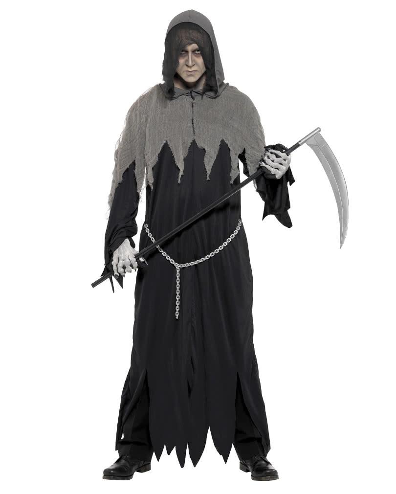 creepy grim reaper robe grim reaper kostm with hood horror. Black Bedroom Furniture Sets. Home Design Ideas