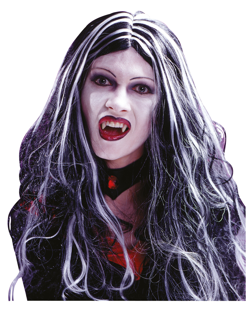 Black and White Vempire Zombie Long Curled Wigs Halloween Costume Accessories