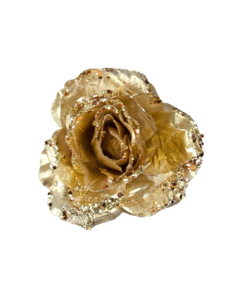 glitzernde deko rose mit clip gold festlicher christbaumschmuck horror. Black Bedroom Furniture Sets. Home Design Ideas
