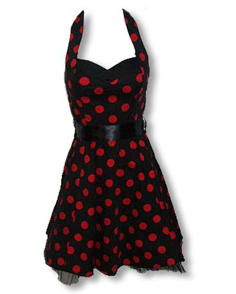 black red polka dot dress rockabilly dress horror. Black Bedroom Furniture Sets. Home Design Ideas