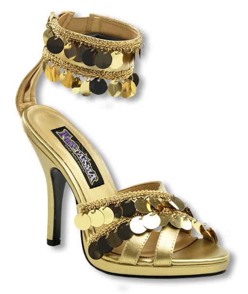 goldene sandaletten mit fesselriemchen 39 uk 8 us 10. Black Bedroom Furniture Sets. Home Design Ideas