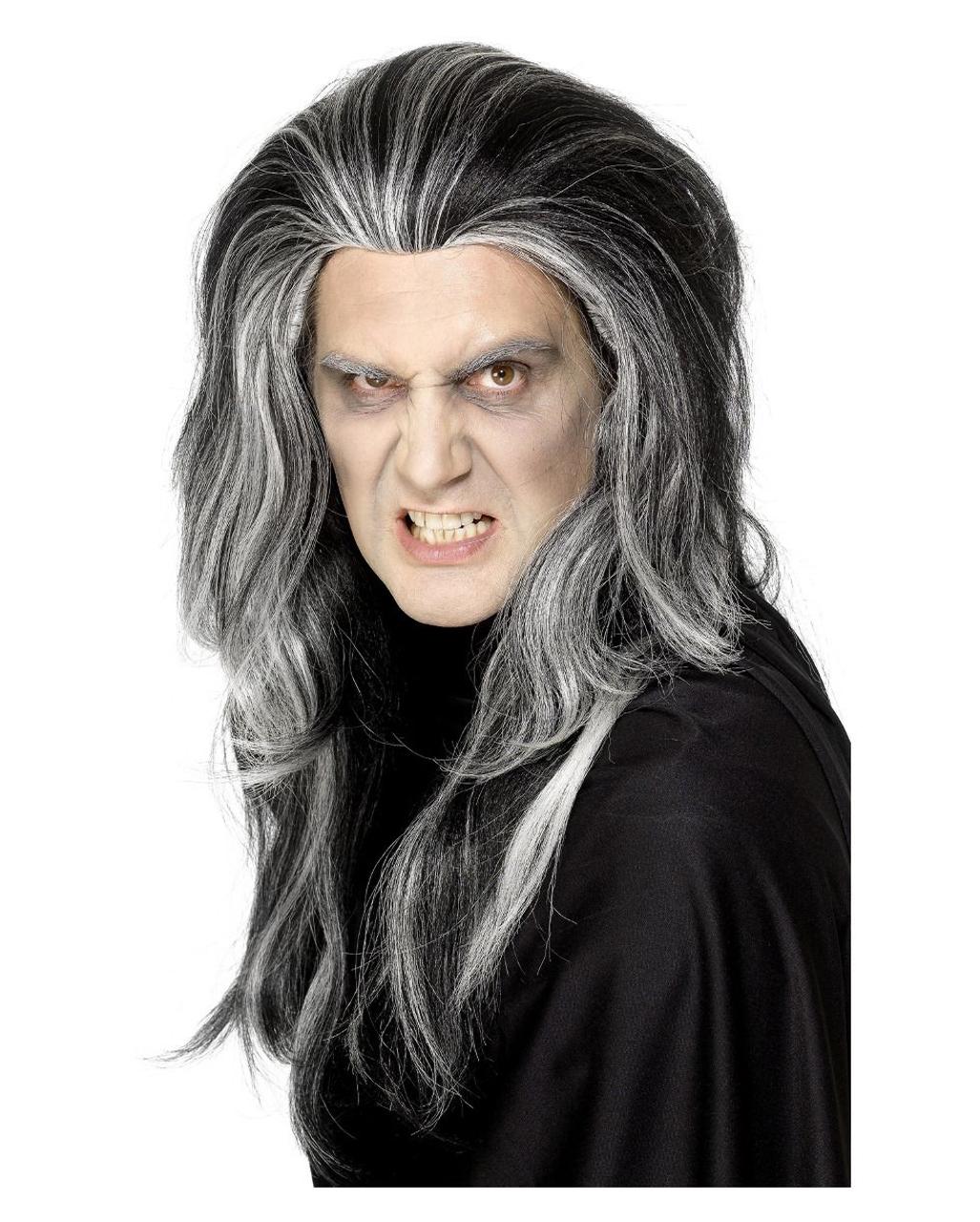 Boys Kids Dracula Vampire Wig Streaky Side Hair Halloween Fancy Dress Costume
