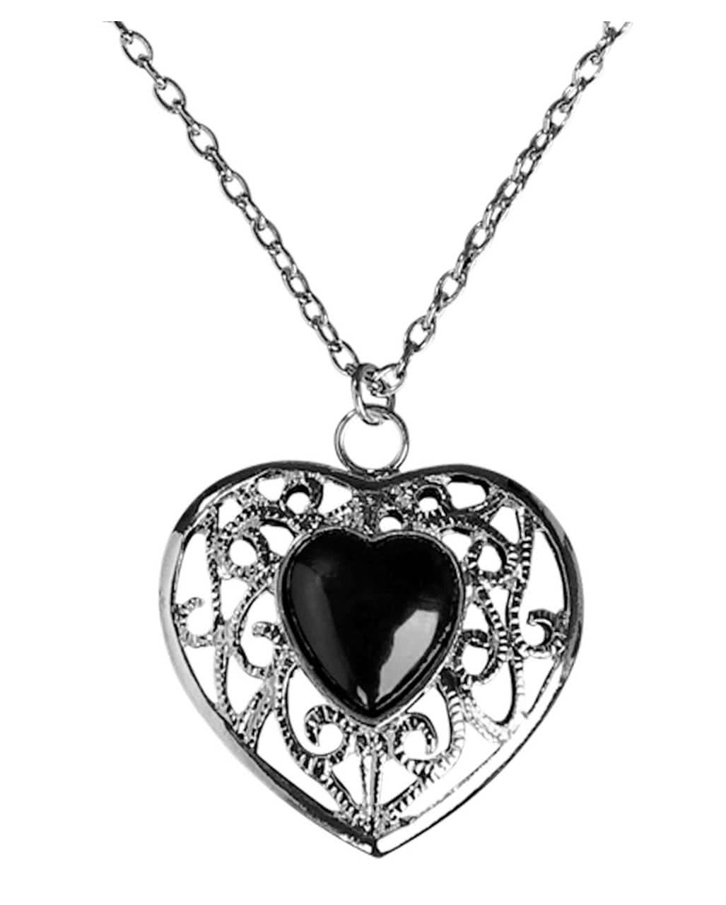 Necklace with black heart pendant as costume jewelry for Jewelry accessories for black dress