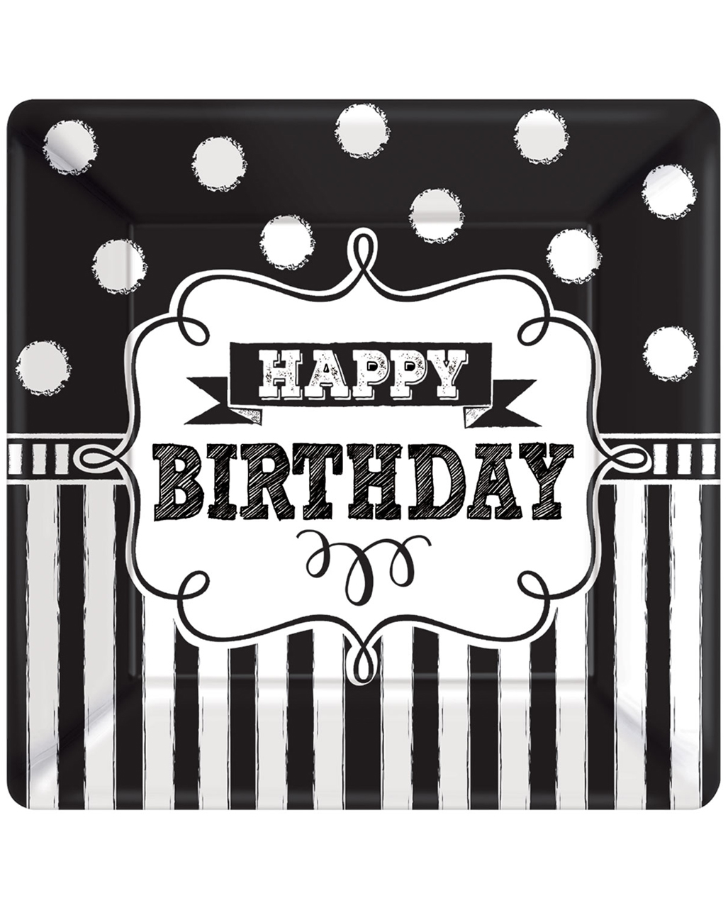 Happy Birthday Paper Plate Black-white 8 Pcs. To Buy