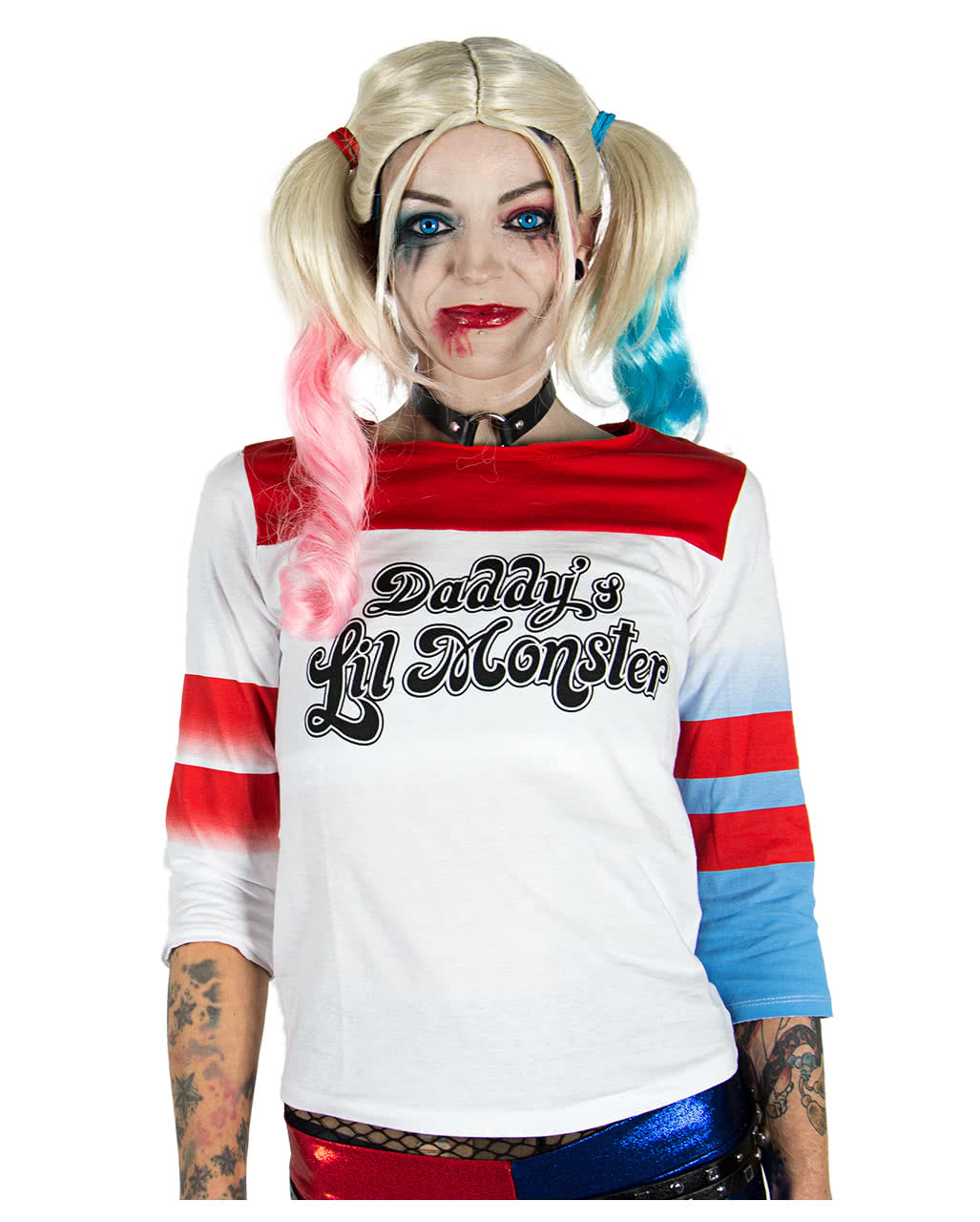 Suicide Squad Harley Quinn Longsleeve Pullover Red White Cotton L