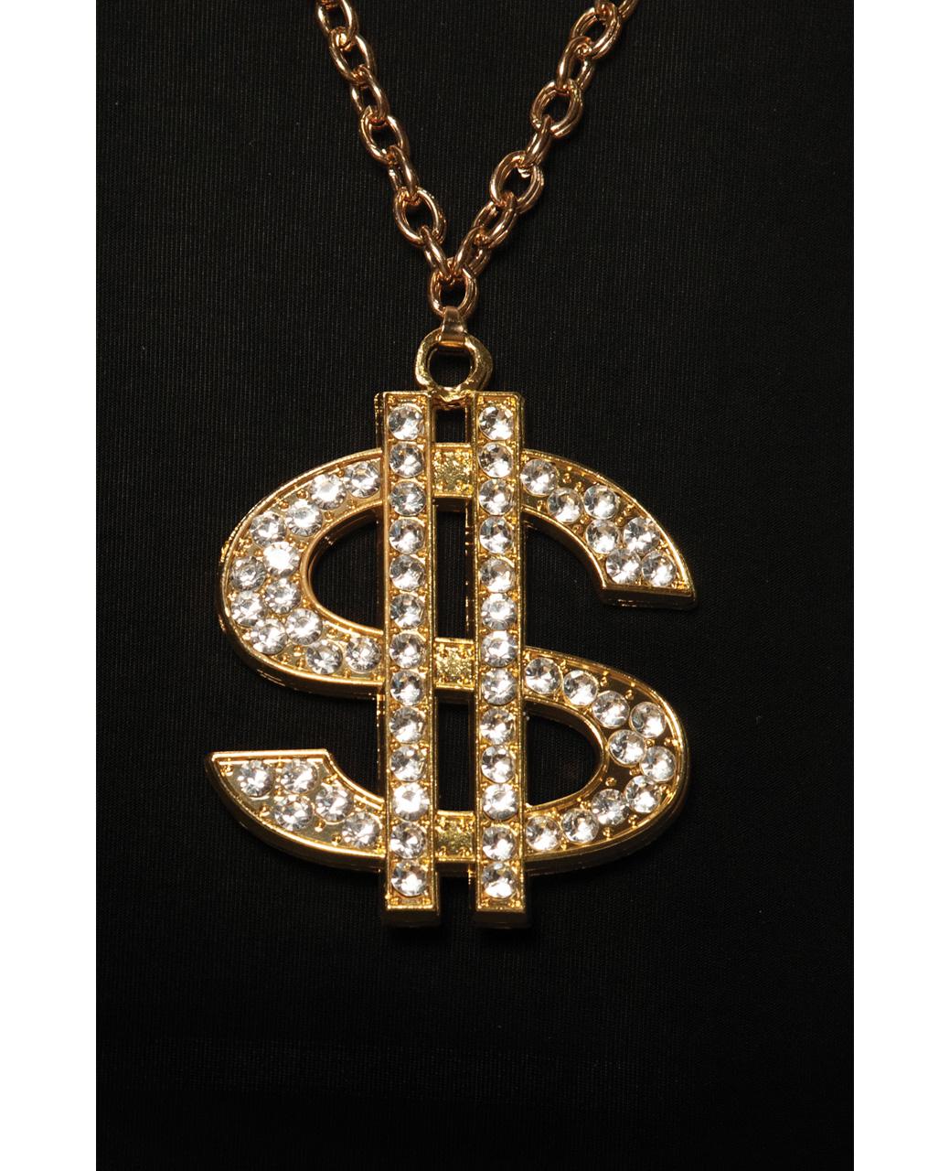 Riese Dollarzeichen Gangster Halskette Hip Hop Bargeld Geld Rapper Goldkette