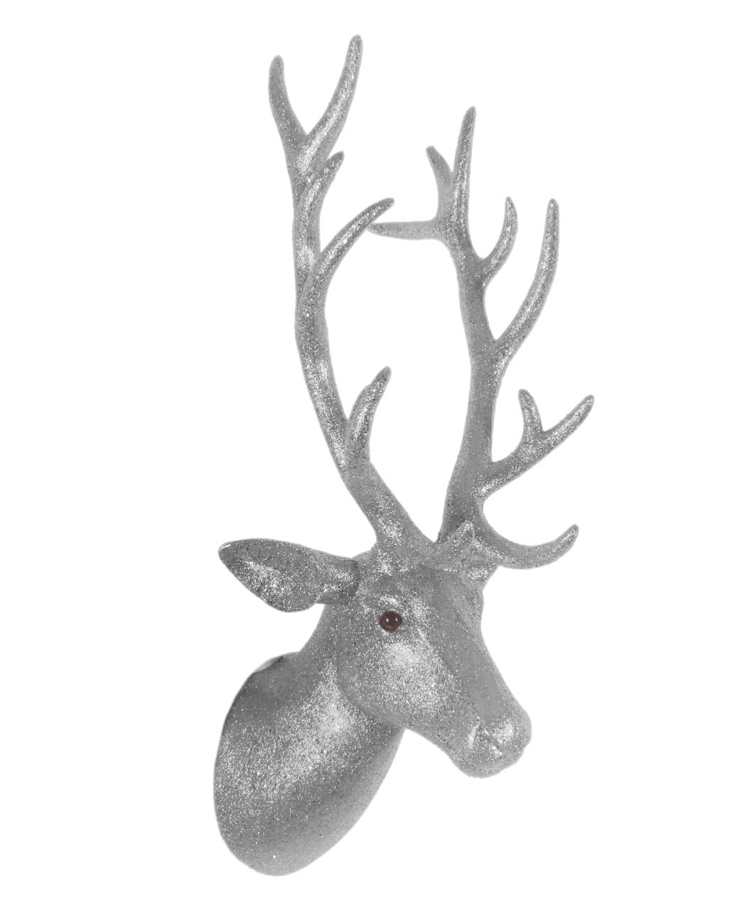 deer head with antlers silver glittering wall decoration horror. Black Bedroom Furniture Sets. Home Design Ideas