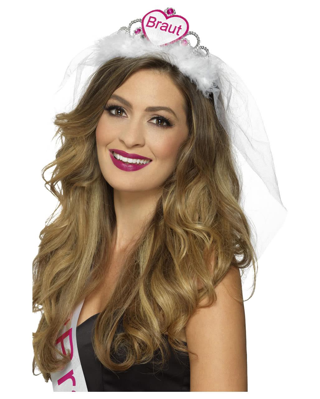 JGA Krone Braut Diadem mit Schleier weiß-pink Bride To Be Tiara Krönchen