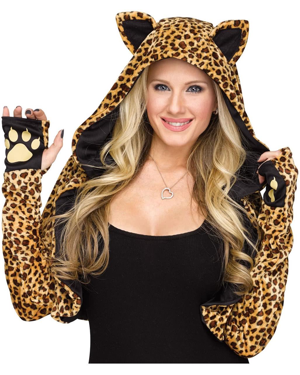 kapuzen stola mit leoparden muster tierkost m horror. Black Bedroom Furniture Sets. Home Design Ideas