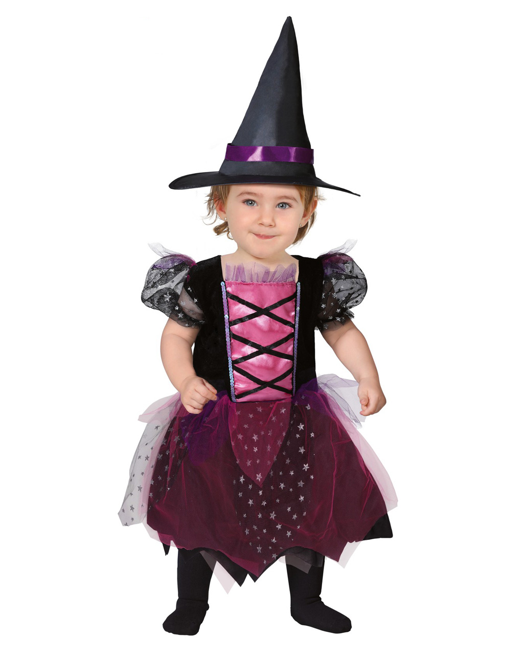 Sweet Witch Black Pink Gothic Short Cute Dress Up Halloween Child Costume