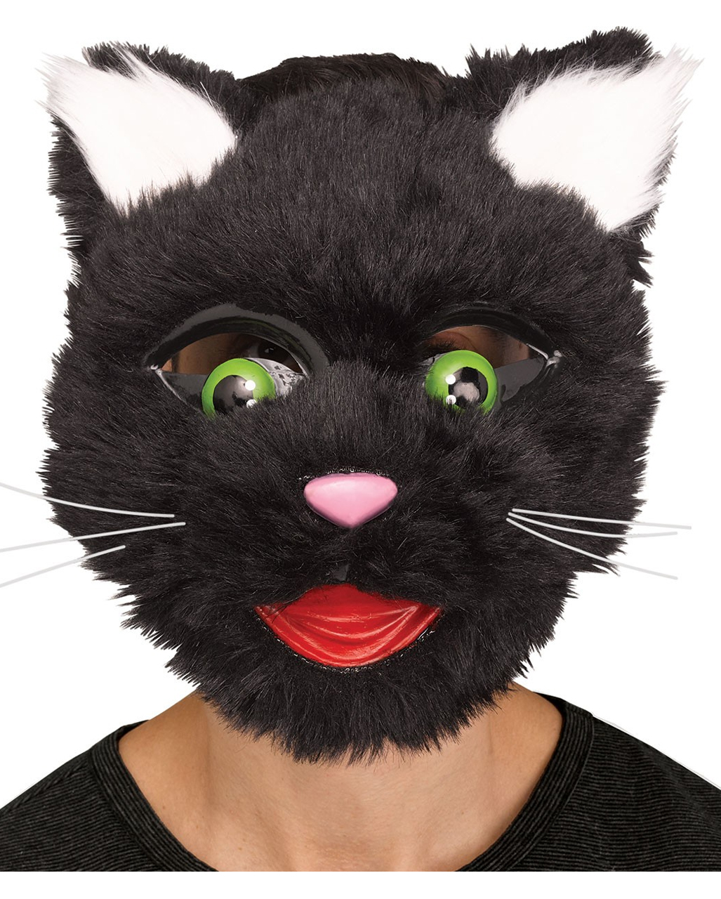 Half Face Black /& White Cat Kitten Animal Mask  Fancy Dress Costume