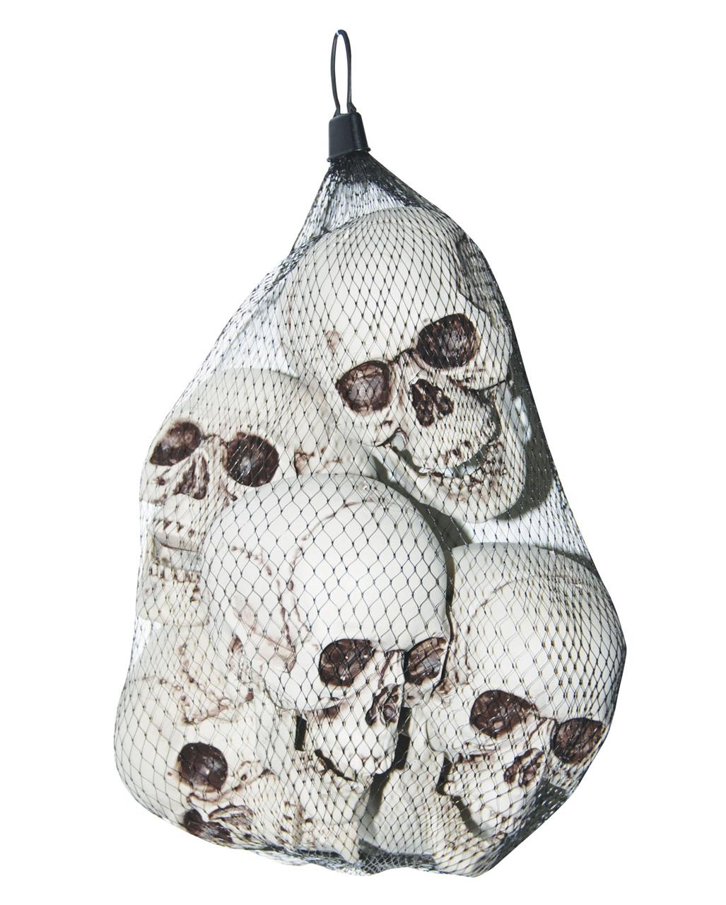 Realistische Kunststoff Totenschädel im 6er Set für Halloween