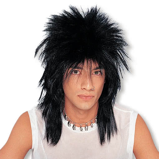 Long Hair Rocker Wig Black Rock Legend Rockstar Wig Black Horror Shop Com