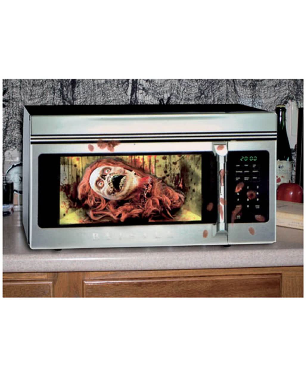halloween microwave foil zombie woman as horror decoration. Black Bedroom Furniture Sets. Home Design Ideas