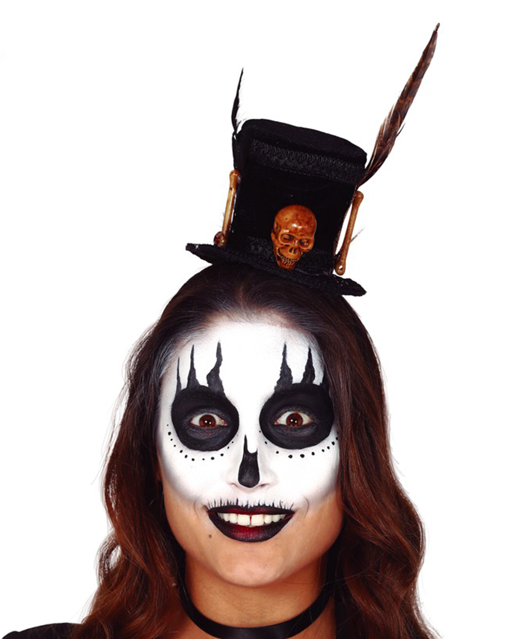 WIL Kostüm Zubehör Zylinder Voodoo mit Skelett Knochen Halloween
