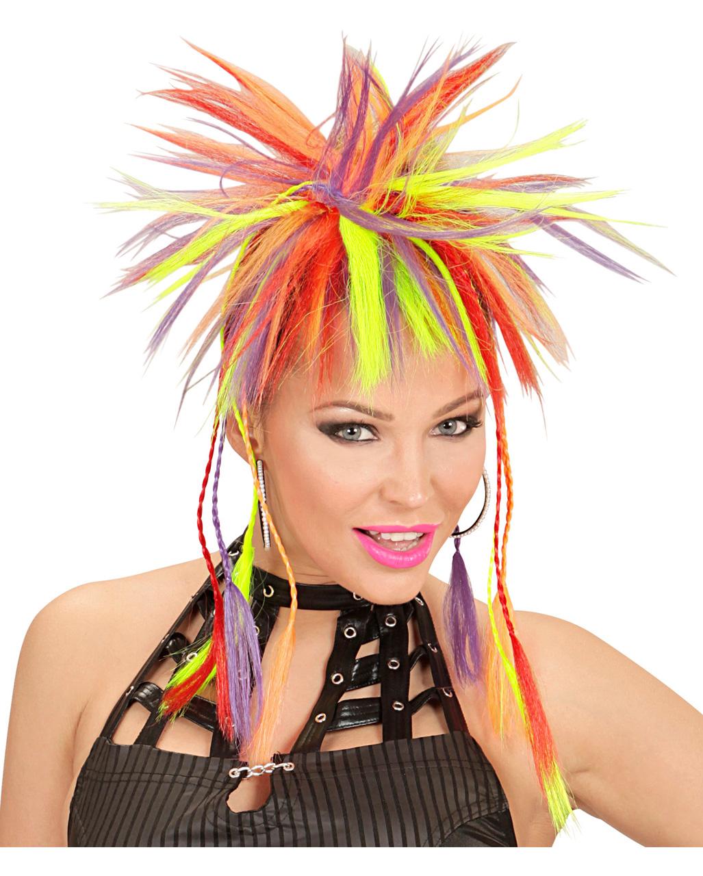 "Neon Hair Extensions UV Fancy Dress Bright Rainbow Grip 1980/'s 12/"" Funky Pink"