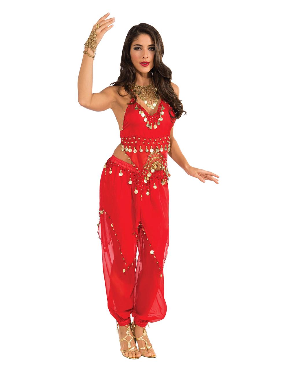 Orientalisches Bauchtanz Kostum In Rot Mit Munzen Horror Shop Com