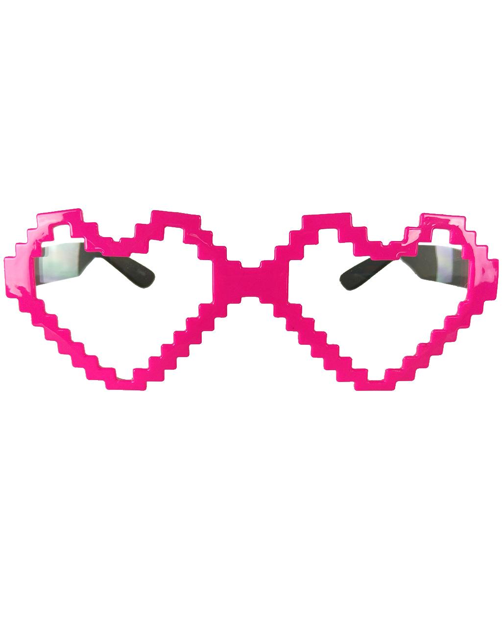 Pixel Heart Glasses Neonpink Carnival Glasses Horror Shop Com