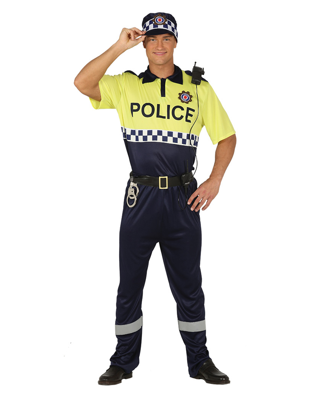 Mens Police Officer Fancy Dress Costume Cops /& Robbers Outfit