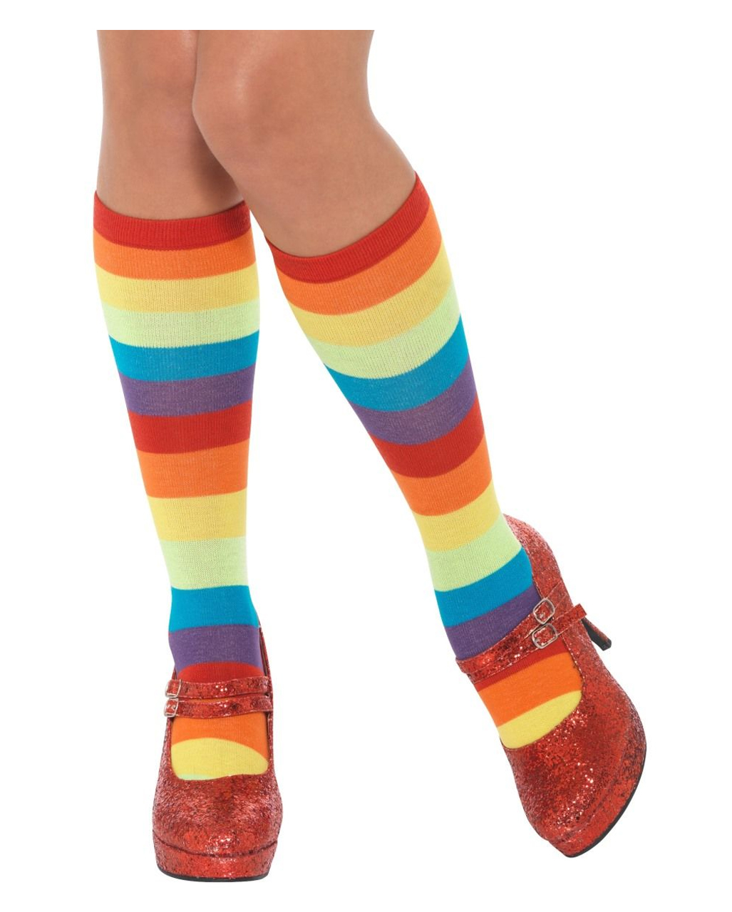 Long Adult Clown Jester Yellow Costume Socks With Rainbow Polka Dots