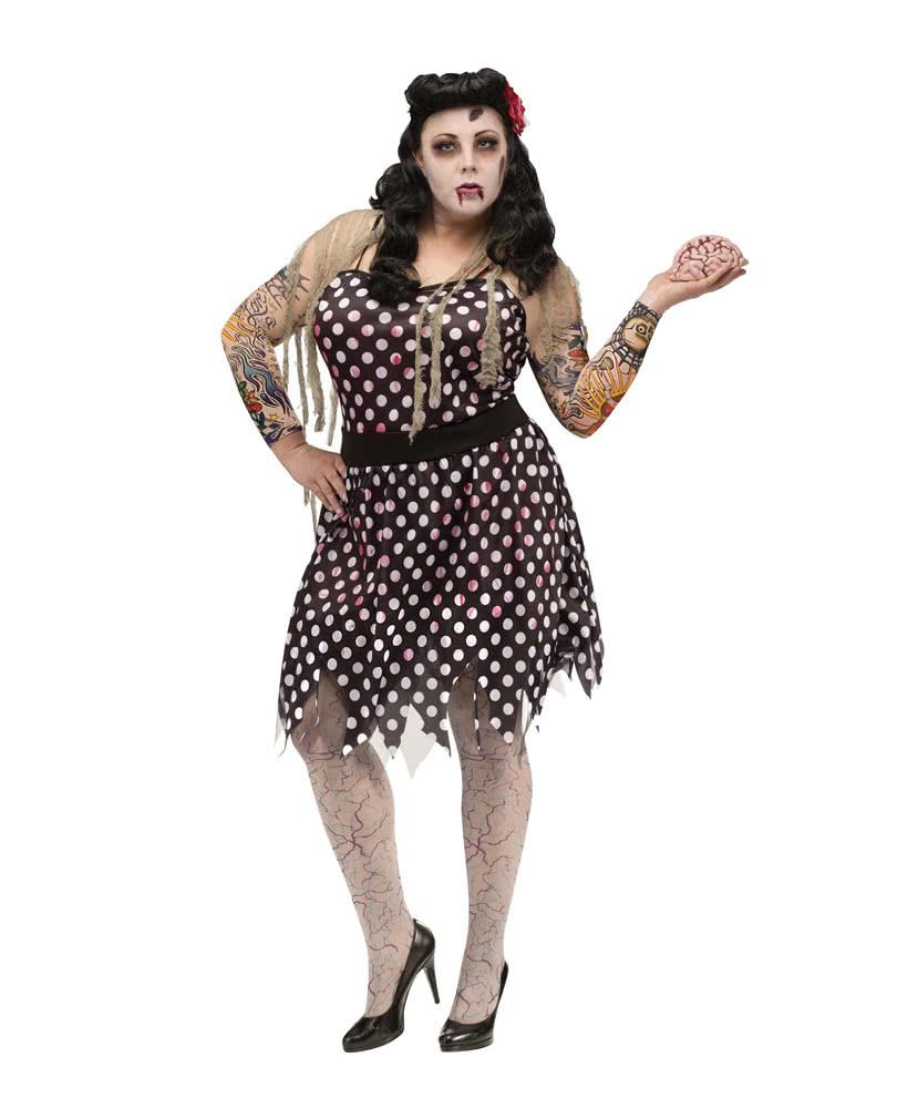 rockabilly zombie costume plus size women 50s zombie costume in plus size horror. Black Bedroom Furniture Sets. Home Design Ideas