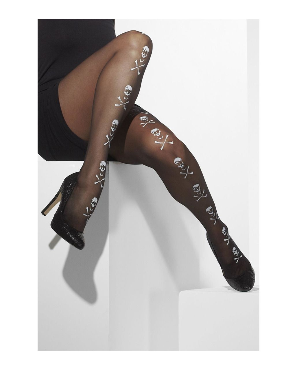 Nylon Thigh Highs w//Pirate Skull Print Black Dress Up Adult Costume Accessory