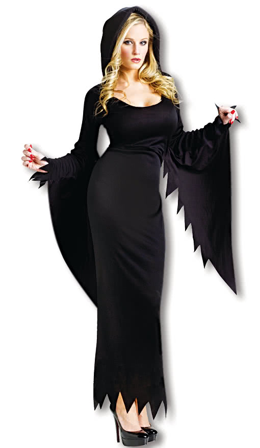 black costume dress with hood ladies costume with hood and the jagged sleeves horror. Black Bedroom Furniture Sets. Home Design Ideas