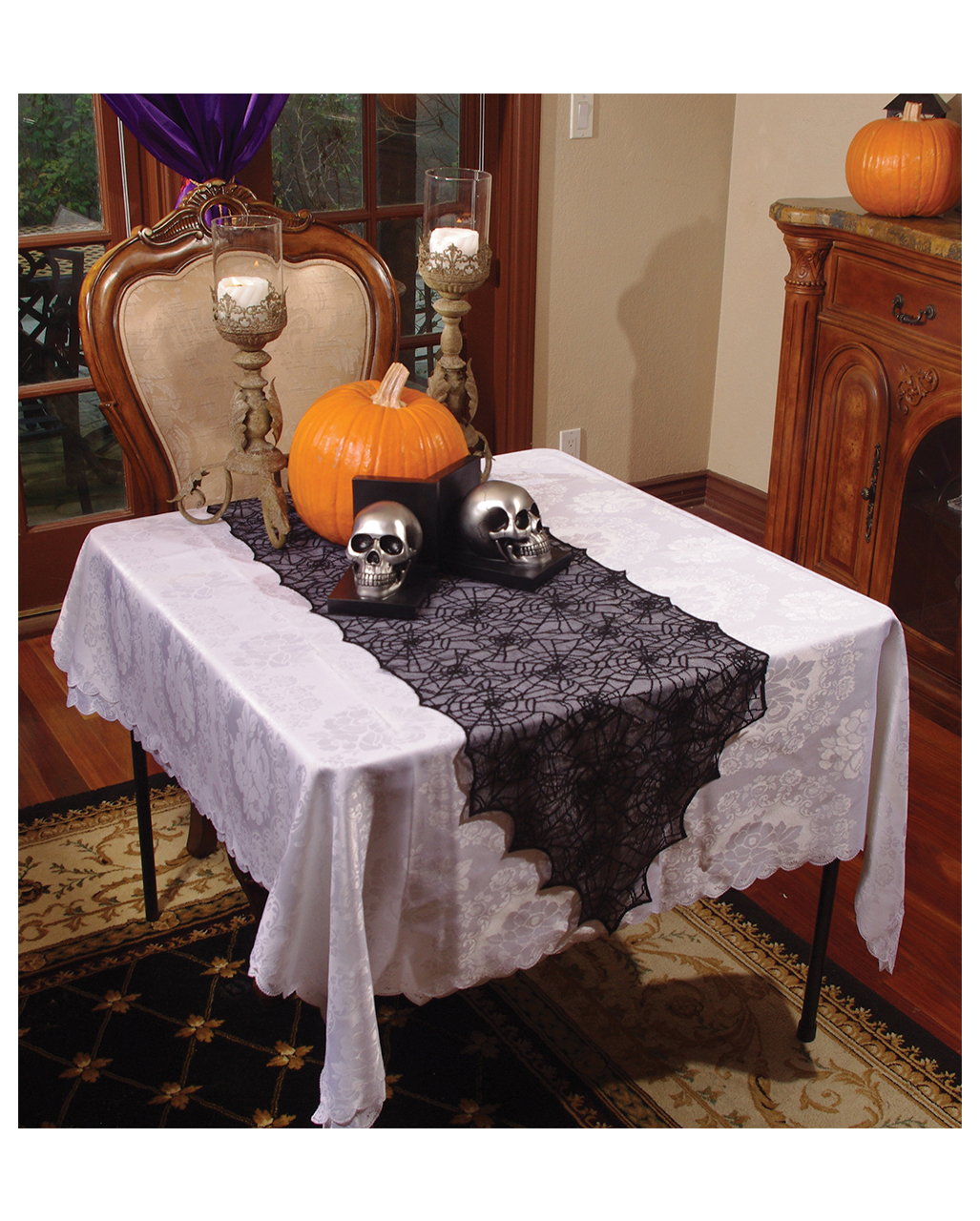 spinnweben tischl ufer schwarz halloweendeko horror. Black Bedroom Furniture Sets. Home Design Ideas