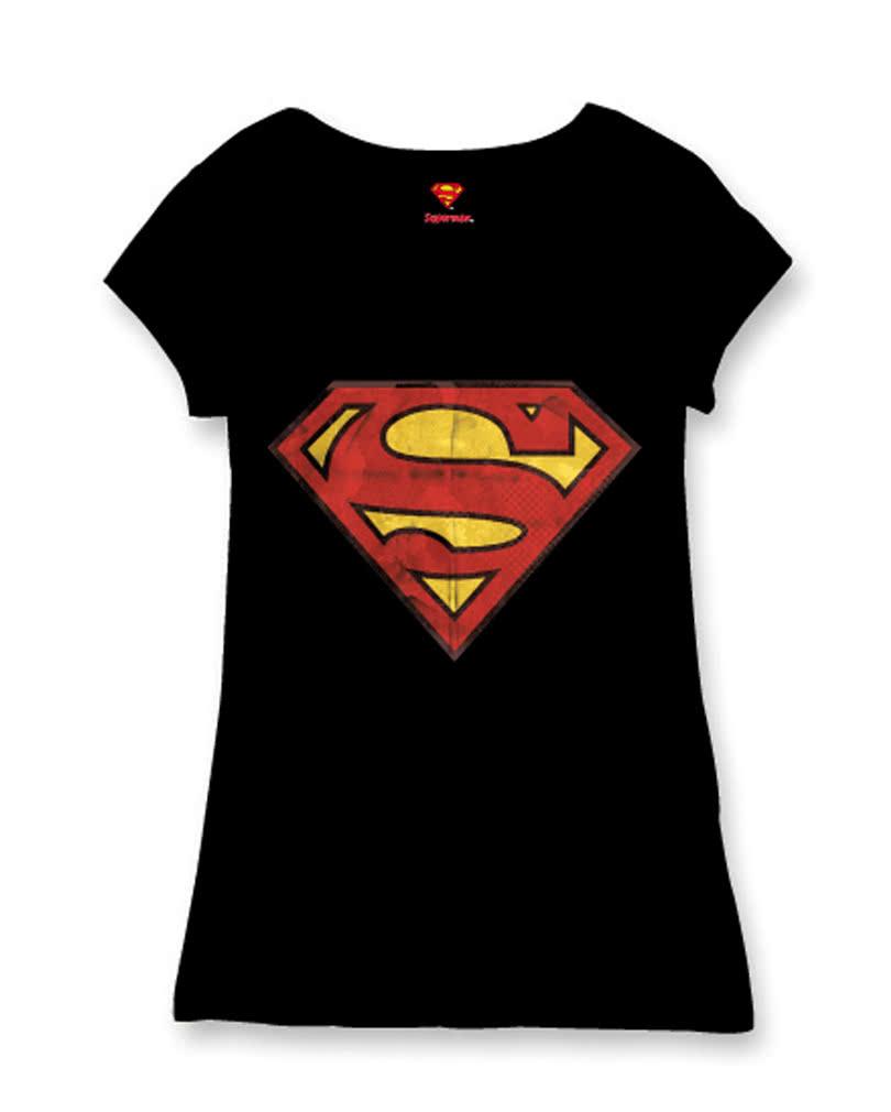 superman logo women 39 s t shirt superman license t shirt. Black Bedroom Furniture Sets. Home Design Ideas