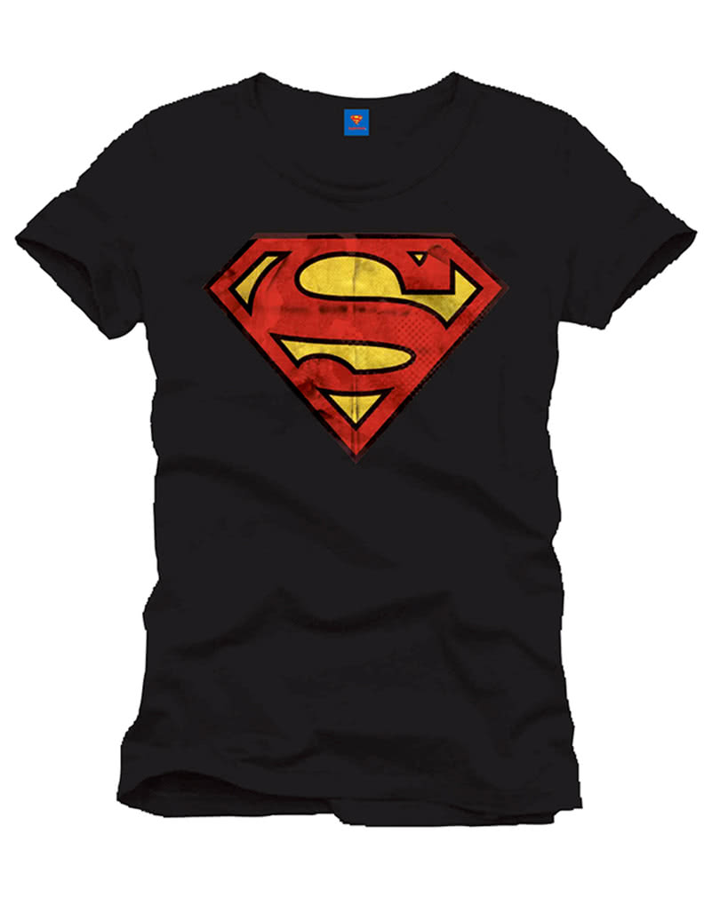 Superman vintage logo t shirt schwarz superhelden retro for Old logo t shirts