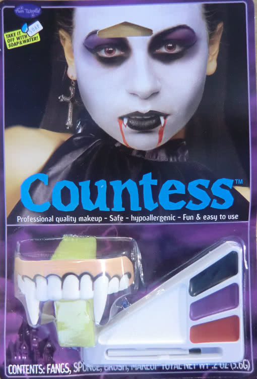 Dracula Vampire Make Up /& Teeth Set Halloween Fancy Dress Kit