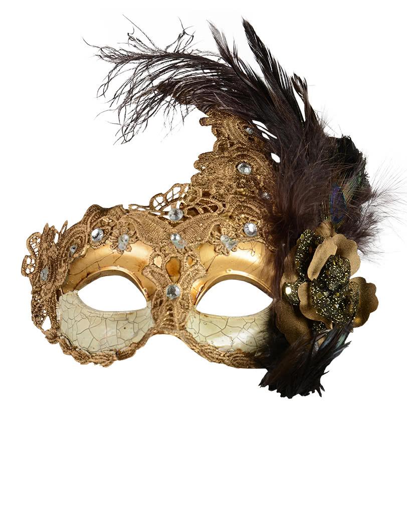 venezianische maske mit federn gold braun f r dein pr chtiges halloween kost m horror. Black Bedroom Furniture Sets. Home Design Ideas