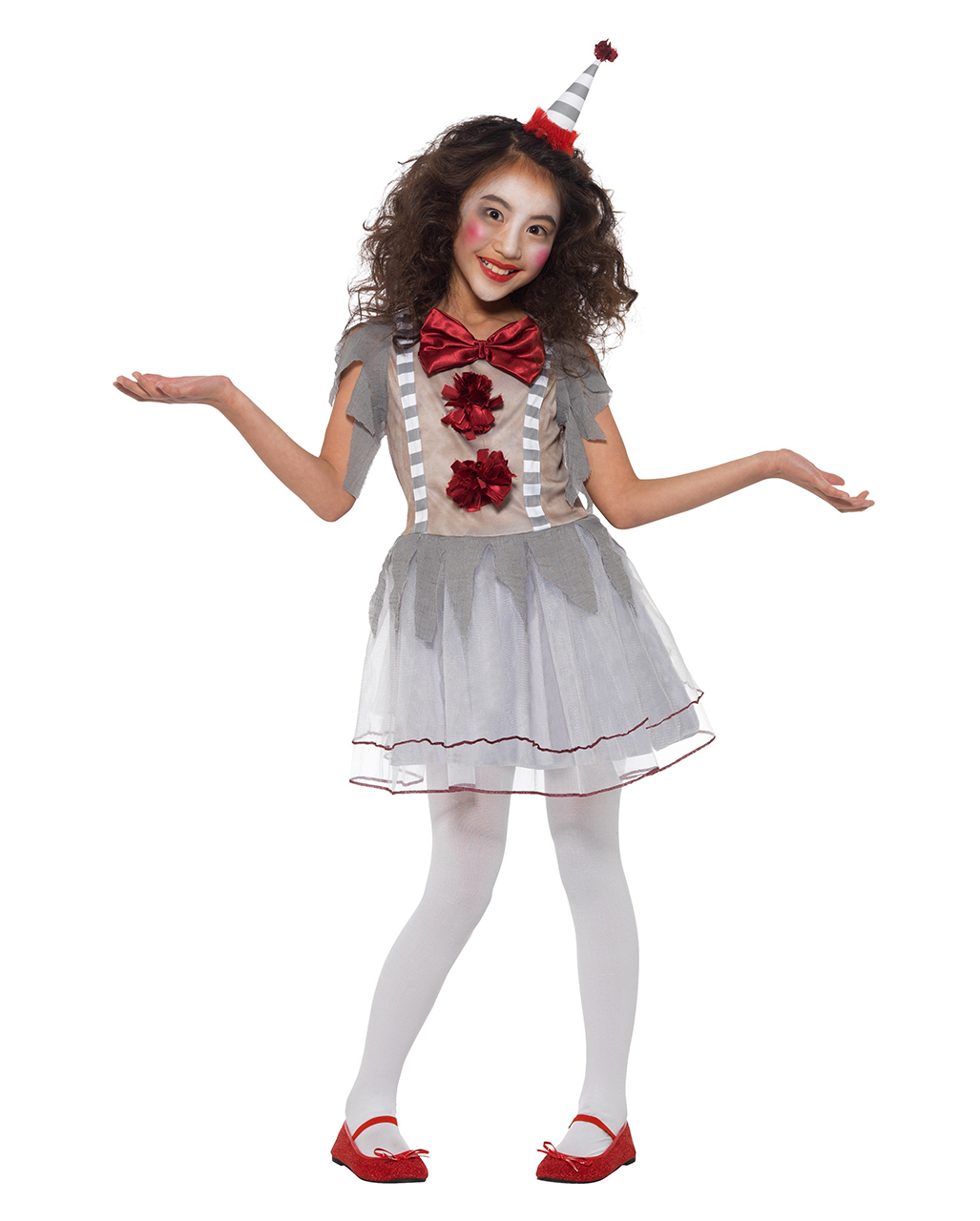 Killer Clown Halloween Costumes For Girls.Vintage Horror Clown Girl Costume