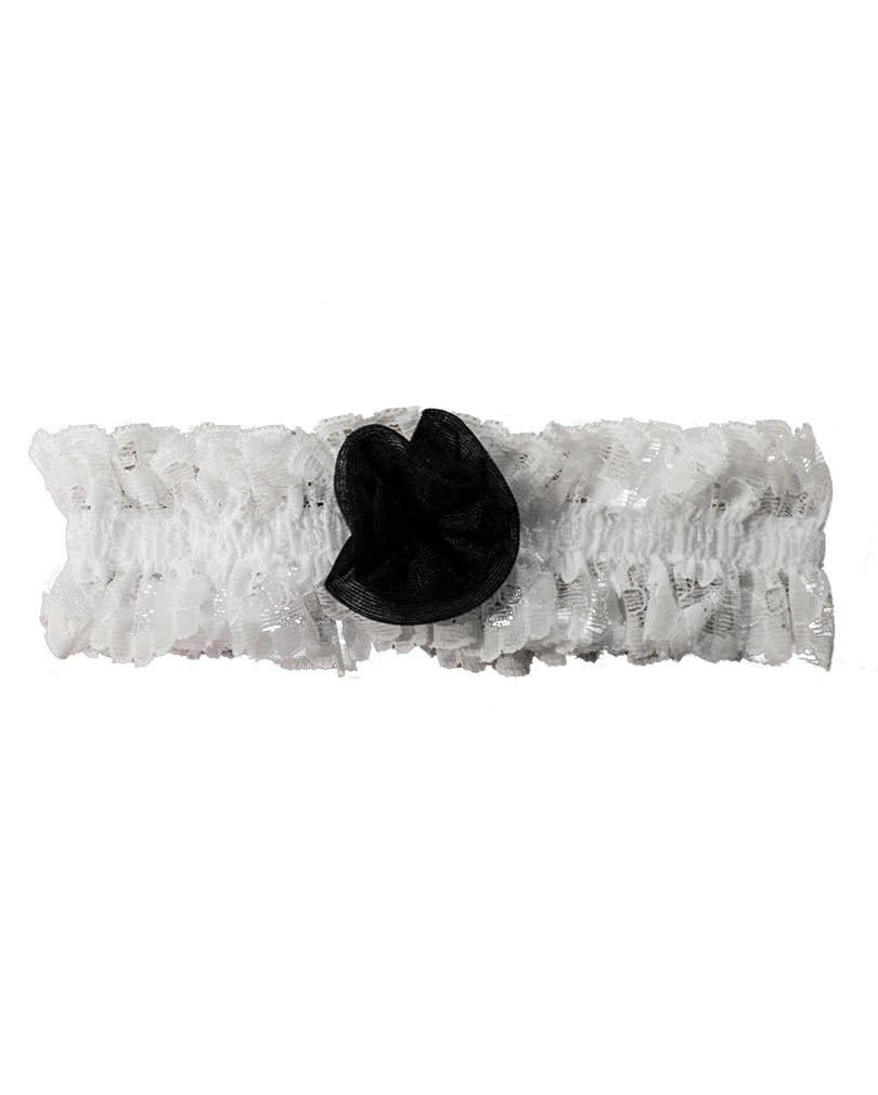 official photos 5572b 693e5 Strumpfband weiß mit schwarzer Rose