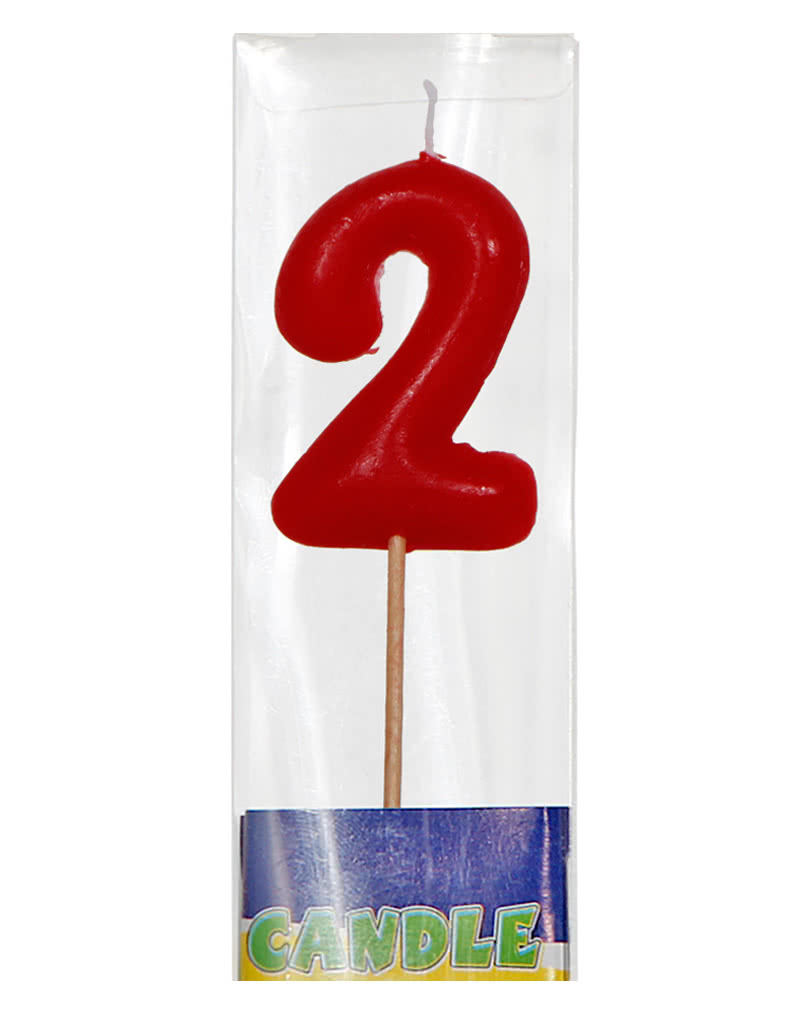 red number 2 birthday candle