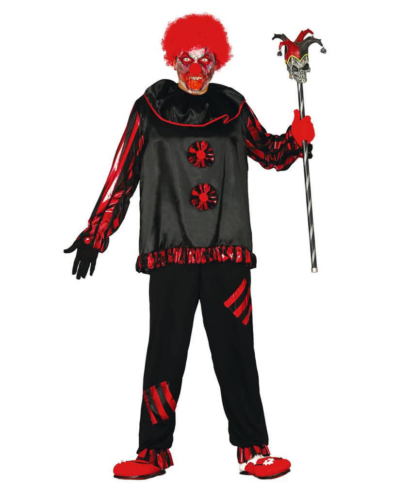 schwarzer zombie clown kost m gruselige clown verkleidung horror. Black Bedroom Furniture Sets. Home Design Ideas