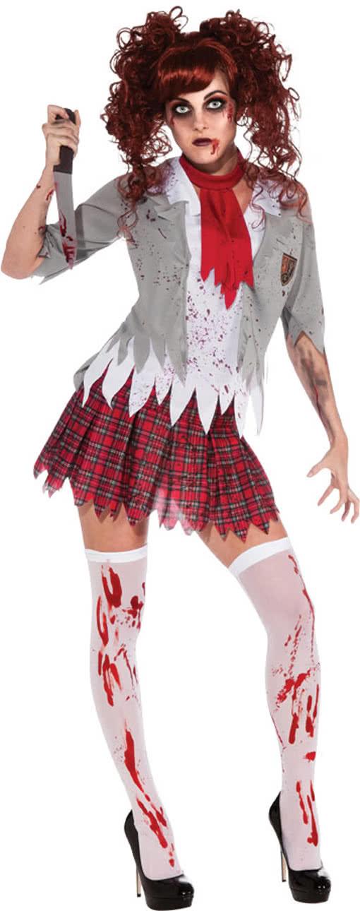 zombie schulm dchen uniform als halloween kost m horror. Black Bedroom Furniture Sets. Home Design Ideas