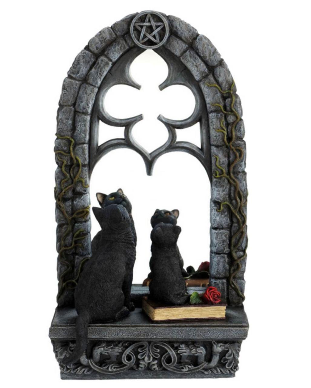 gothic spiegel mit katzen als halloween deko horror. Black Bedroom Furniture Sets. Home Design Ideas