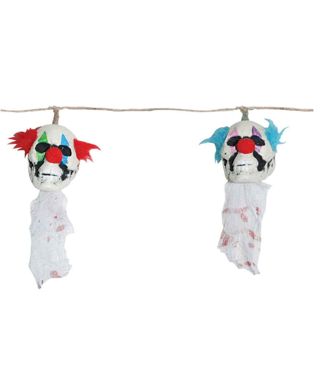 Halloween girlande mit clown k pfe als deko horror - Halloween girlande ...
